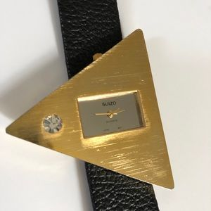 Retro SUIZO triangle funky gold black wrist watch